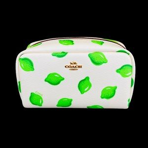 Small Boxy Cosmetic Case With Lime Print